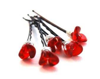 Red Flower, Christmas Day Bobby Pins, Wire Wrapped, Modern, Hair Fashion, Gift