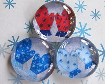 Glass Marble Pebble Magnets Mittens Winter  Snow  Blue  Red  White Holiday Christmas Gift  Xmas Fridge Magnets  Set of 3