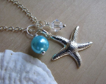 Aqua Color Pearl Necklaces with Starfish Charm and Crystal Beach Destination Wedding Jewelry
