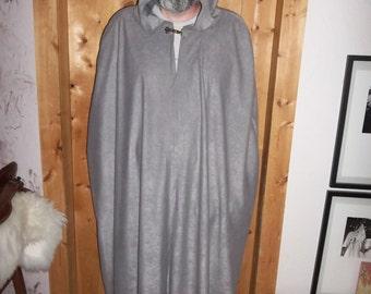 Grey cloak in velvety ultrasuede.
