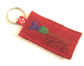 SALE - red Harris Tweed keyring with embroidered thistle, scottish gift, stocking filler, made in Scotland