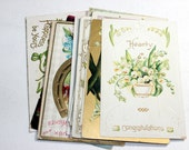 12 Early 1900s Greeting Postcard Assortment - Shades of White - Antique Used Postcards