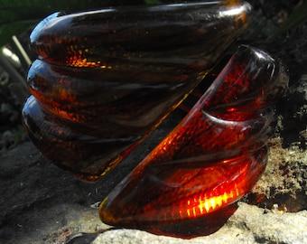 Amber Brown Tortoise Shell Bakelite/Lucite Cuff Bracelet Rootbeer bracelet ala MONIES style