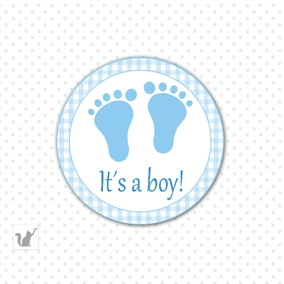 Printable Blue Gingham Its A Boy Baby Shower Favor Label