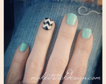 Large Pattern Chevron Nail Decals - YOU PICK COLOR - Set of 60 strips- Nail Vinyls