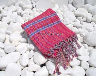 Turkishtowel-Hand woven,20/2 cotton warp and weft Rainbow,Diamond Turkish Bath,Beach Towel-Red and Blue weft