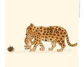 Children's Wall Art Print - Kids Decor - Whimsical and Sweet Wall Art Illustration - kids nursery - Cute Animal Series - The Jaguars