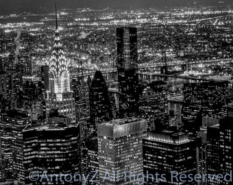 New York City Skyline and the Chrysler Building at Night Manhattan USA 8x10 Fine Art Print