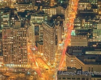 Flatiron Building in New York City Skyline at Night NYC USA 8x10 Fine Art Print