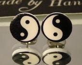 Yin and Yang stud earrings