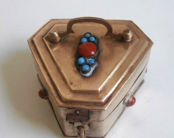 Turquoise Coral Brass Trinket Box