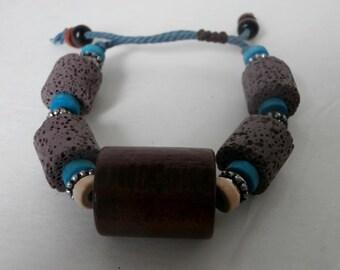 Ethnic Wood Resin Beaded Bracelet