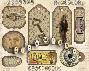 Steampunk collage sheet with tags and labels