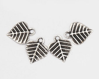 30 of 925 Sterling Silver Dark Leaf Charms 7.5 mm. :th0091
