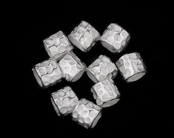 30 of Karen Hill Tribe Silver Hammered Tubular Beads 4 mm. :ka3068