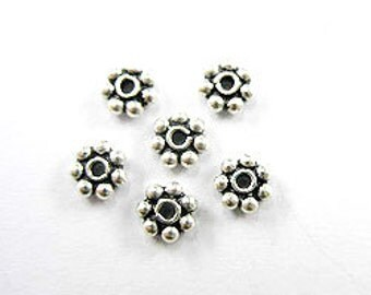 30 of 925 Sterling Silver Daisy Beads 5 mm. :bp0366