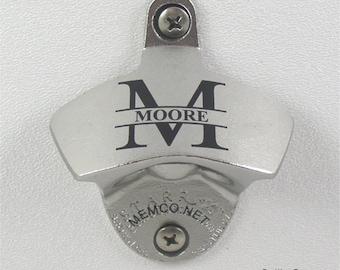Engraved Beer Opener - Custom Engraved Stainless Steel or Black wall Mount Bottle Opener - FREE Engraving