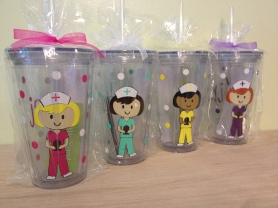 Quantity 4 Personalized with name acrylic tumbler or water bottle - Nurse, RN, Doctor, Technician, Dental hygienist, Vet, Teacher