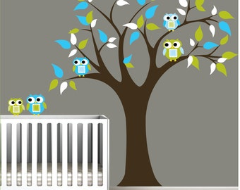 Childrens Vinyl Wall Decals Tree with Owls,Birds-Nursery Tree Wall Decals