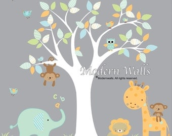 Children Wall Decals For Nursery-Tree with Jungle Animals Birds