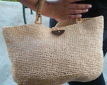Raffia bag, purse, handmade Crochet Handbag made from Raffia Yarn.  Wheat color, ready to ship now.