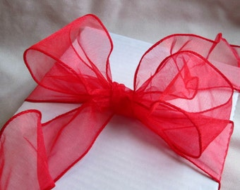"""Red Sheer Wire Ribbon...2 1/2"""" 10 yards"""