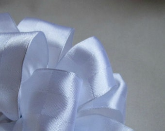 "Double Faced White Satin Wire Ribbon... 1.5"" X 12 Feet"