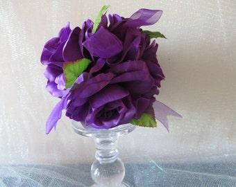 Deep Purple Rose Kissing Ball - wedding decoration, floral pomander, centerpieces, bouquets