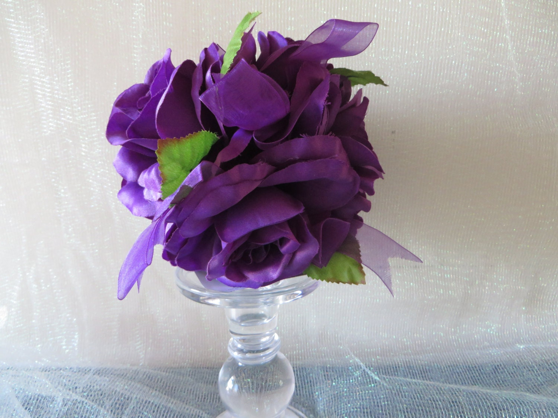 Deep Purple Rose Kissing Ball wedding decoration floral  One