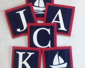 Red and Navy Blue Nautical Baby Boy Nursery, Name Wall Letter SailBoat Room Decor, 6 x 6 Personalized Wooden Plaques Baby Shower Gift Ideas