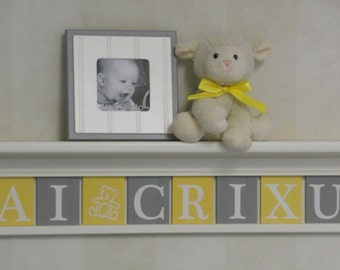 "Yellow and Gray Personalized Baby Nursery Decor 36"" Shelf - 10 Wooden Wall Letters Custom Sign for KAI (Teddy Bear) CRIXUS"