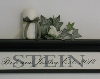 "Custom Established Sign, Beautiful Personalized Family Name and Year Shelves - 24"" Black Wooden Shelf / Sign, Amazing Home Interior Gift"