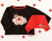 Knitted sweater and cap. Brown red. Felt cloud and stars. 100% merino wool. READY TO SHIP size 1-3 Months.
