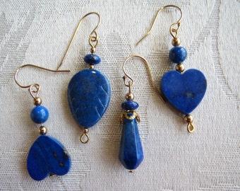 Lapis Lazuli Earrings with 14K Gold Filled in Heart, Leaf, Teardrop Styles
