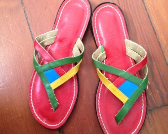 80's Vintage Bernardo Sandals Thongs multi color