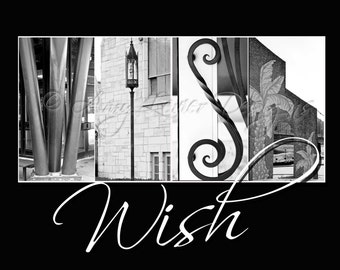 Alphabet Photography - Wish with whimsical text (Various Sizes)