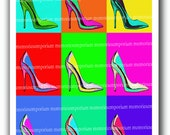 Shoes Andy Warhol Style Stiletto Art Print High Heels Collage Sheet Download Pop Mod Art Psychedelic 60s Stilletto Retro 495