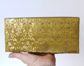Vintage 1950s gold silk brocade evening clutch