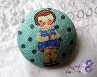 Button fabric, paper doll, 22 mm / 0.86 in