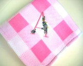 Pink Minky Stroller Blanket - Cuddly Pink and White Checked Fleece