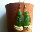 AMAN African green recycled glass raffia palm nut earrings by Fianaturals