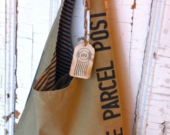 JAPANESE POST - reconstructed japanese mail sack sling tote