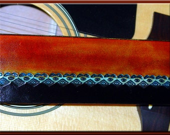 SHAMAN'S EYE Design • A Beautifully Hand Tooled, Hand Crafted Leather Guitar Strap