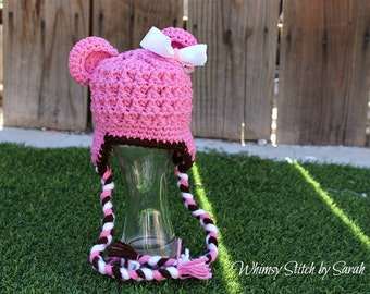 Pink and Brown Baby Girl Hat ~ Photo Prop ~ Detachable Bow ~ Made to Order
