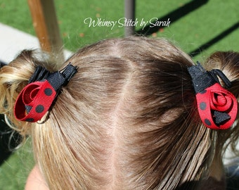 Lady Bug Hair Clips ~ Set of 2 ~ Red & Black Polka Dots ~ Made to Order