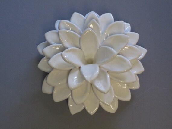 Ceramic Flower Wall Sculpture White Puffy Dahlia Bloom