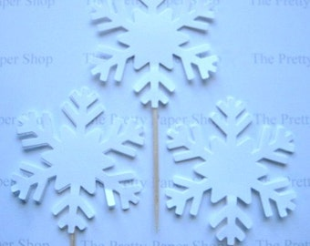 12 Large Snowflake Party Picks - Cupcake Toppers - Toothpicks - Food Picks - die cut punch  FP461