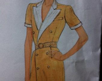 Vintage Vogue DESIGNER Ralph LAUREN Pattern 70s No. 2839 Size 14 Vogue Designer Original Misses Double Breastd DRESS Short or Long Sleeves