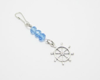Nautical Ship Wheel Purse Zipper Pull Cell Phone Charm Water Blue Rondelles 363