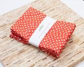 Large Cloth Napkins - Set of 4 - (N2439) - Red Tomato Dots Modern Reusable Fabric Napkins
